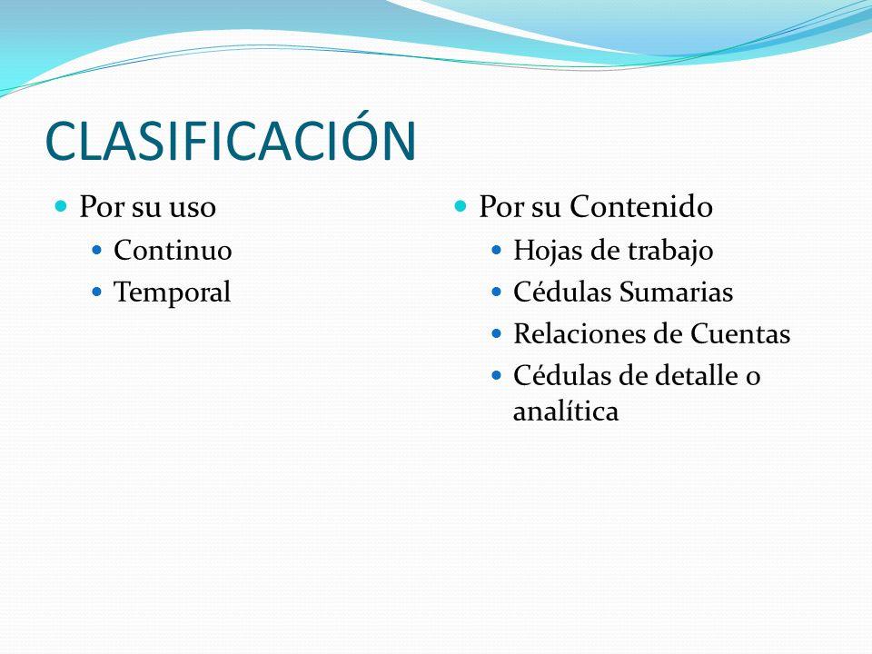 CLASIFICACIÓN Por su uso Continuo Temporal Por su Contenido Hojas de trabajo Cédulas Sumarias Relaciones de Cuentas Cédulas de detalle o analítica