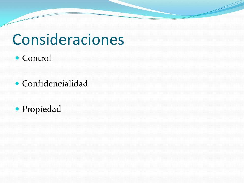 Consideraciones Control Confidencialidad Propiedad