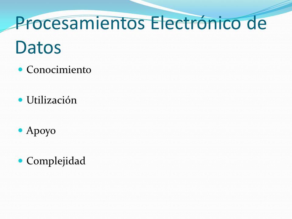 Procesamientos Electrónico de Datos Conocimiento Utilización Apoyo Complejidad