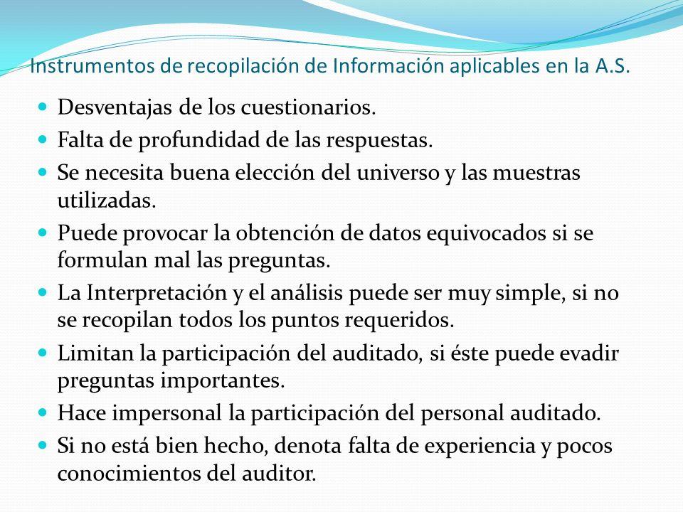 Instrumentos de recopilación de Información aplicables en la A.S. Desventajas de los cuestionarios. Falta de profundidad de las respuestas. Se necesit