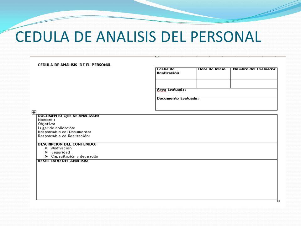 CEDULA DE ANALISIS DEL PERSONAL