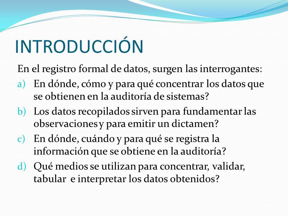 INTRODUCCIÓN En el registro formal de datos, surgen las interrogantes: a) En dónde, cómo y para qué concentrar los datos que se obtienen en la auditor
