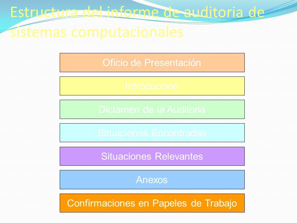 Estructura del informe de auditoria de sistemas computacionales Oficio de Presentación Introducción Dictamen de la Auditoria Situaciones Relevantes Si