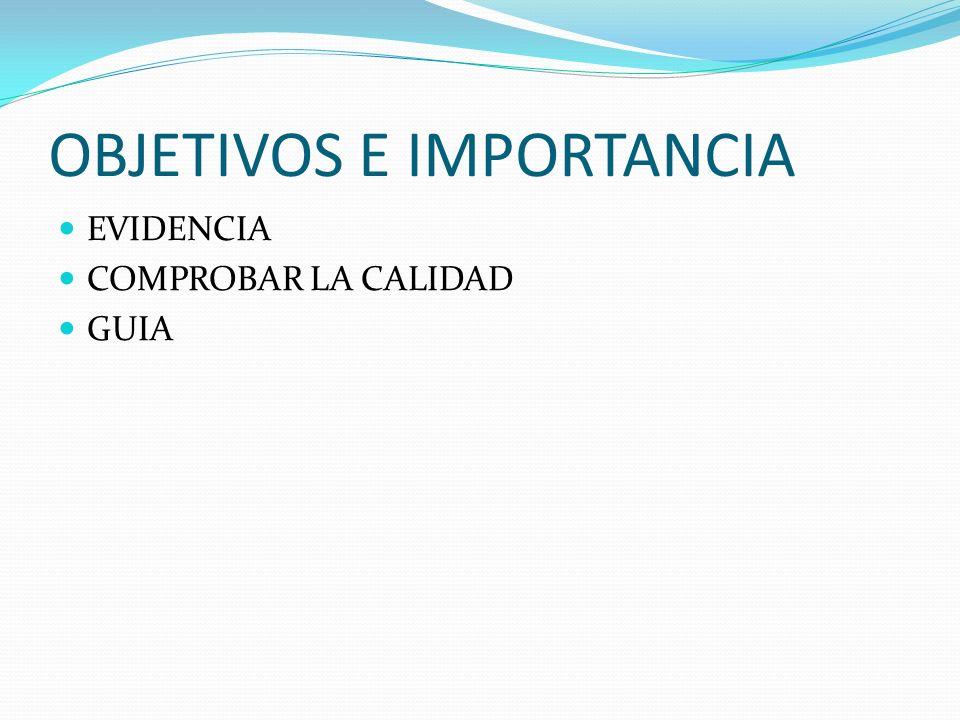 OBJETIVOS E IMPORTANCIA EVIDENCIA COMPROBAR LA CALIDAD GUIA
