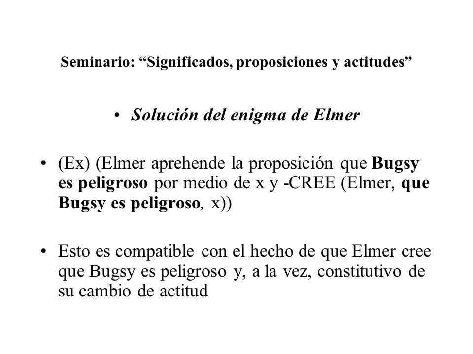 Seminario: Significados, proposiciones y actitudes Solución del enigma de Elmer (Ex) (Elmer aprehende la proposición que Bugsy es peligroso por medio