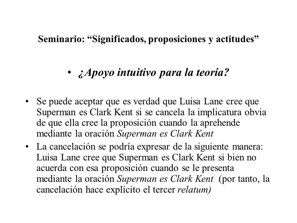 Seminario: Significados, proposiciones y actitudes ¿Apoyo intuitivo para la teoría? Se puede aceptar que es verdad que Luisa Lane cree que Superman es