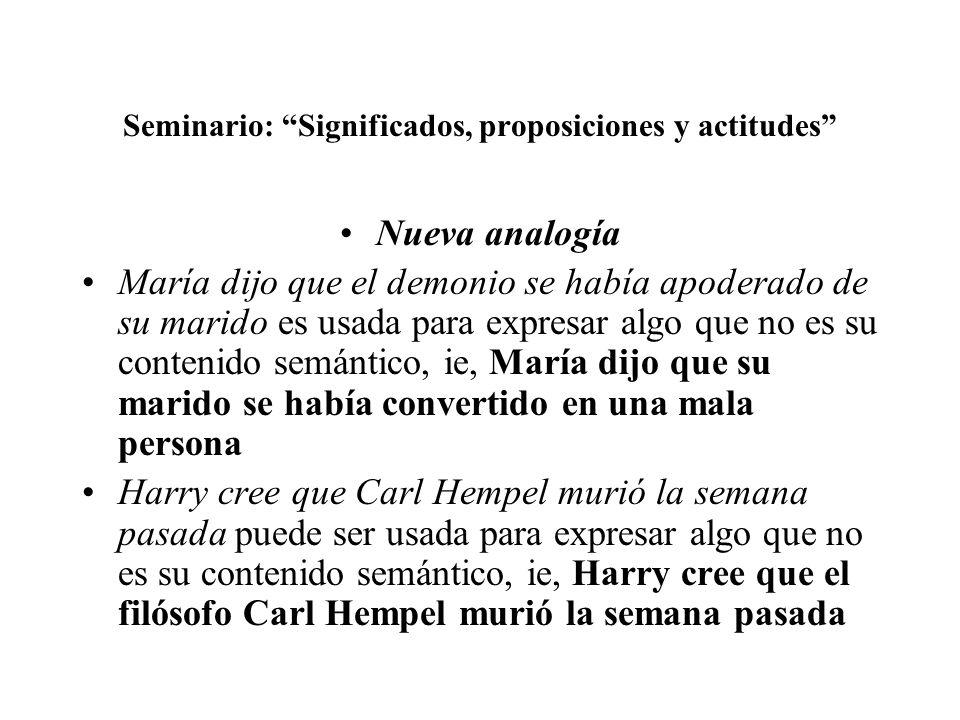 Seminario: Significados, proposiciones y actitudes Nueva analogía María dijo que el demonio se había apoderado de su marido es usada para expresar alg