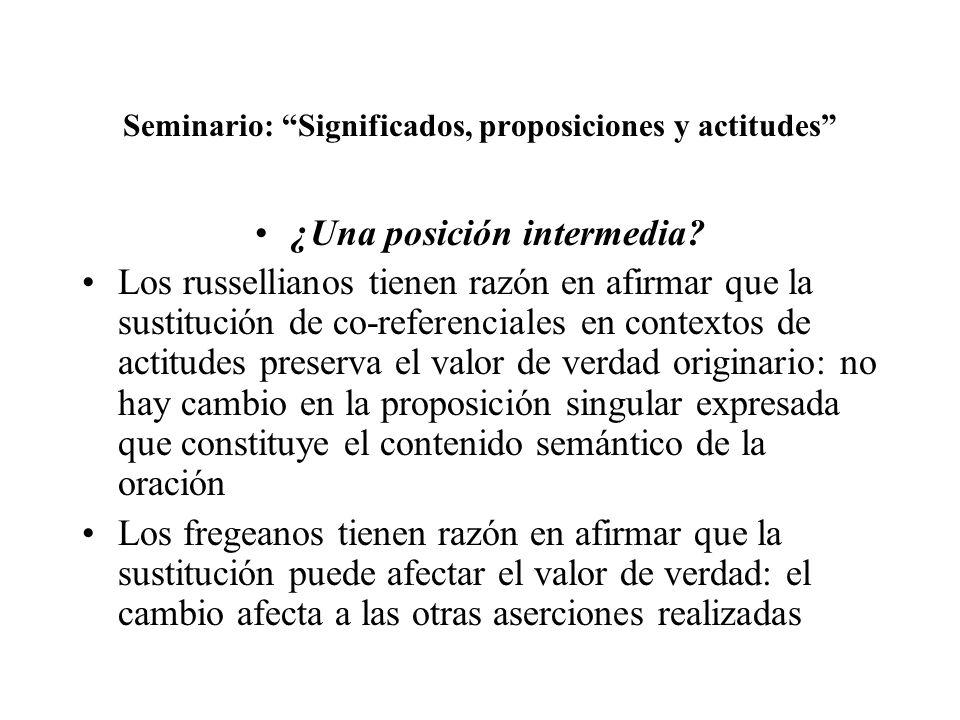 Seminario: Significados, proposiciones y actitudes ¿Una posición intermedia? Los russellianos tienen razón en afirmar que la sustitución de co-referen