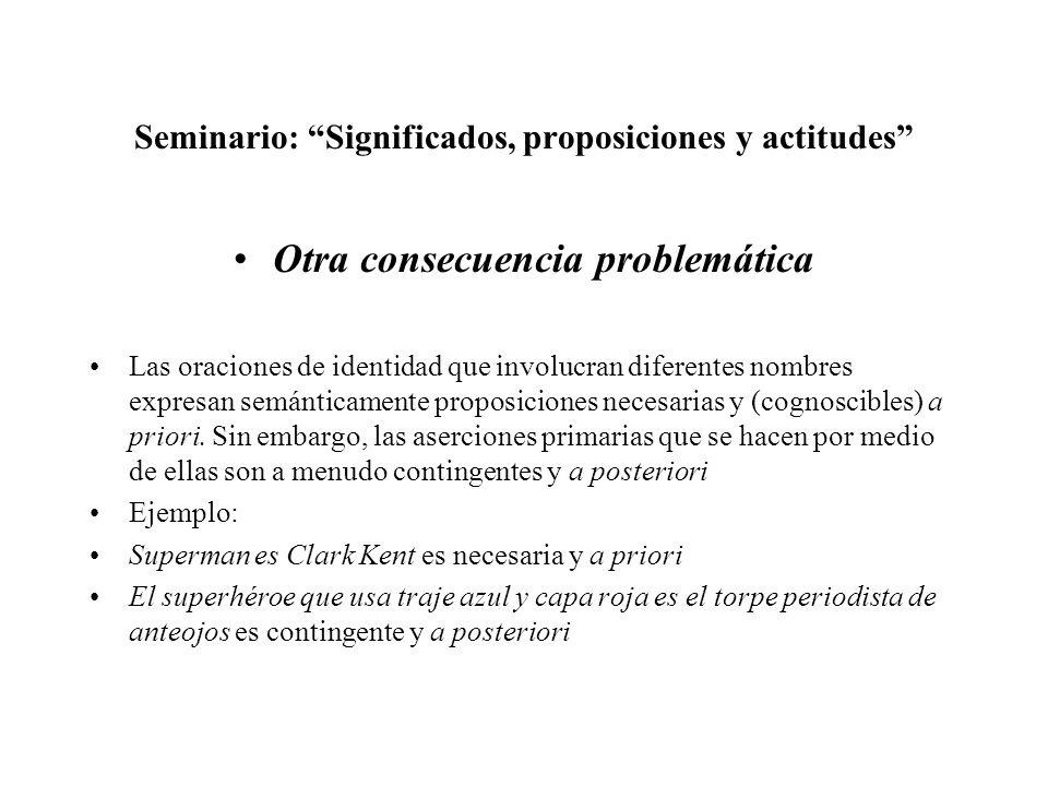 Seminario: Significados, proposiciones y actitudes Otra consecuencia problemática Las oraciones de identidad que involucran diferentes nombres expresa