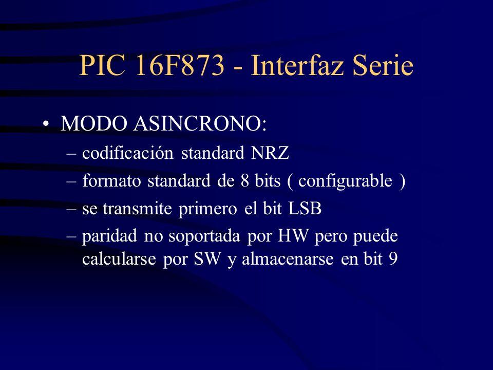 PIC 16F873 - Interfaz Serie MODO ASINCRONO: –codificación standard NRZ –formato standard de 8 bits ( configurable ) –se transmite primero el bit LSB –