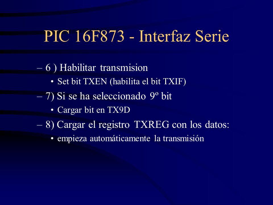 PIC 16F873 - Interfaz Serie –6 ) Habilitar transmision Set bit TXEN (habilita el bit TXIF) –7) Si se ha seleccionado 9º bit Cargar bit en TX9D –8) Car