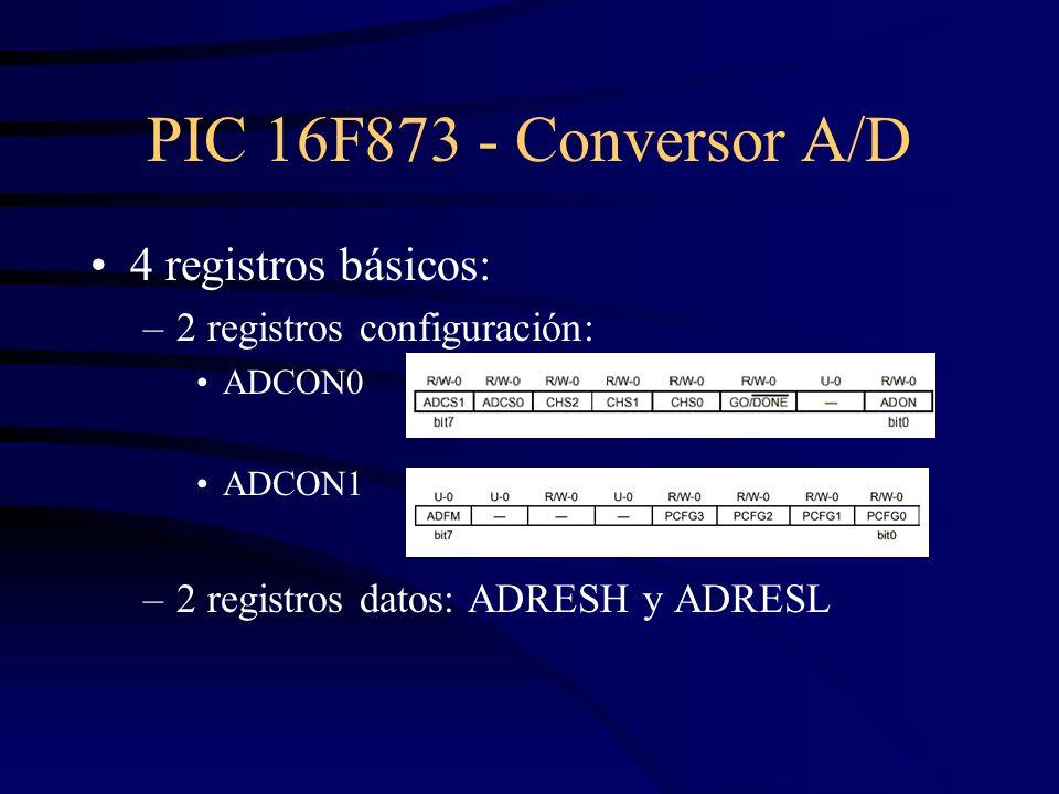 PIC 16F873 - Conversor A/D 4 registros básicos: –2 registros configuración: ADCON0 ADCON1 –2 registros datos: ADRESH y ADRESL