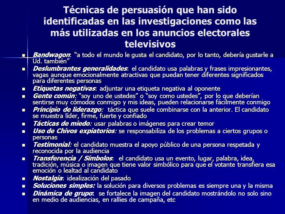 Técnicas de persuasión que han sido identificadas en las investigaciones como las más utilizadas en los anuncios electorales televisivos Bandwagon: a