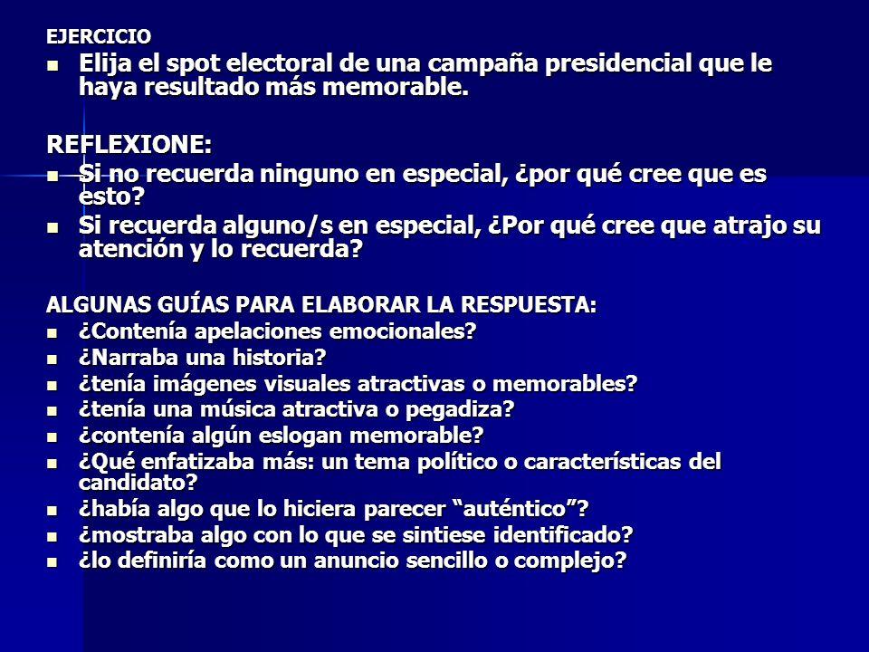 EJERCICIO Elija el spot electoral de una campaña presidencial que le haya resultado más memorable. Elija el spot electoral de una campaña presidencial