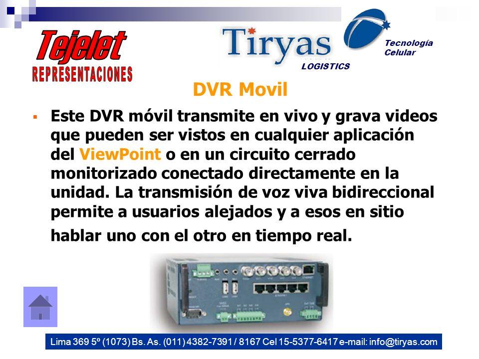 Este DVR móvil transmite en vivo y grava videos que pueden ser vistos en cualquier aplicación del ViewPoint o en un circuito cerrado monitorizado conectado directamente en la unidad.