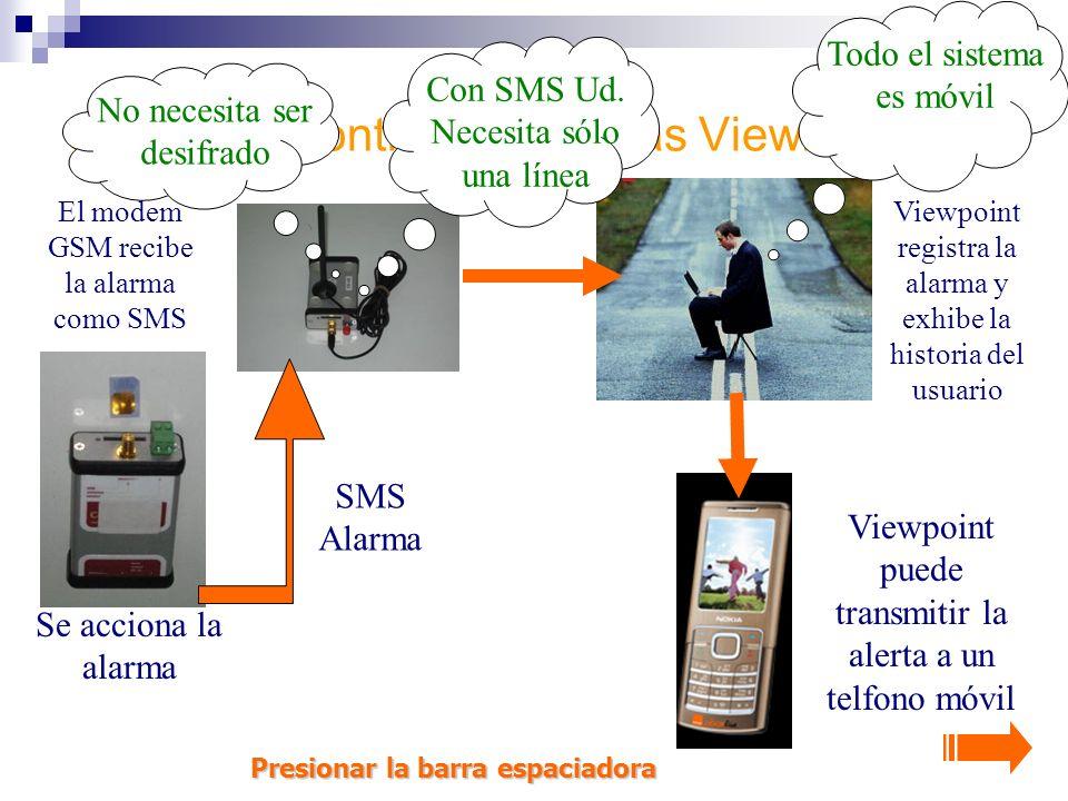 Centro de Control de alarmas ViewPoint Viewpoint puede transmitir la alerta a un telfono móvil El modem GSM recibe la alarma como SMS Viewpoint registra la alarma y exhibe la historia del usuario Con SMS Ud.