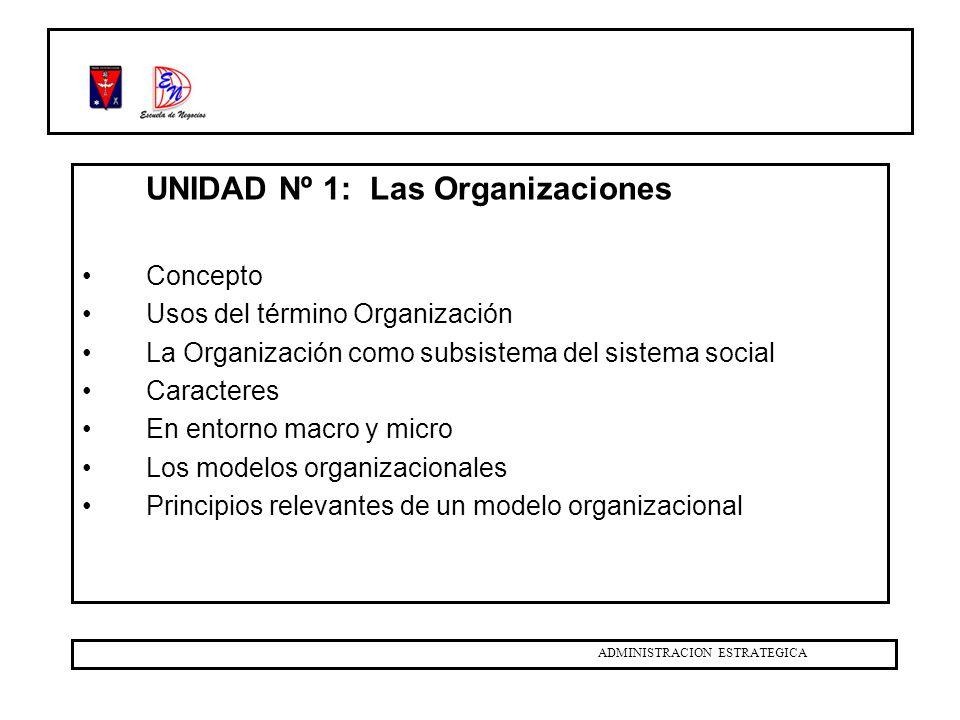 UNIDAD Nº 1: Las Organizaciones Temas: Organigramas, Manuales.