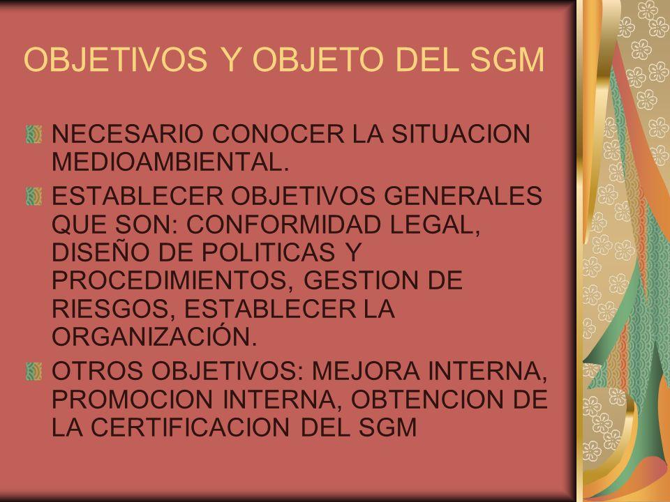 OBJETIVOS Y OBJETO DEL SGM NECESARIO CONOCER LA SITUACION MEDIOAMBIENTAL. ESTABLECER OBJETIVOS GENERALES QUE SON: CONFORMIDAD LEGAL, DISEÑO DE POLITIC