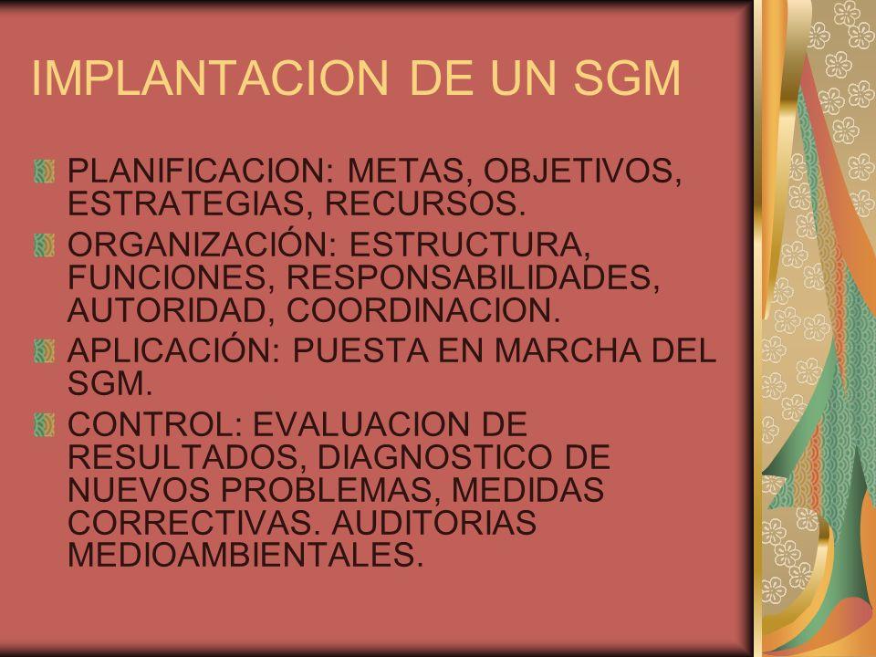IMPLANTACION DE UN SGM PLANIFICACION: METAS, OBJETIVOS, ESTRATEGIAS, RECURSOS. ORGANIZACIÓN: ESTRUCTURA, FUNCIONES, RESPONSABILIDADES, AUTORIDAD, COOR