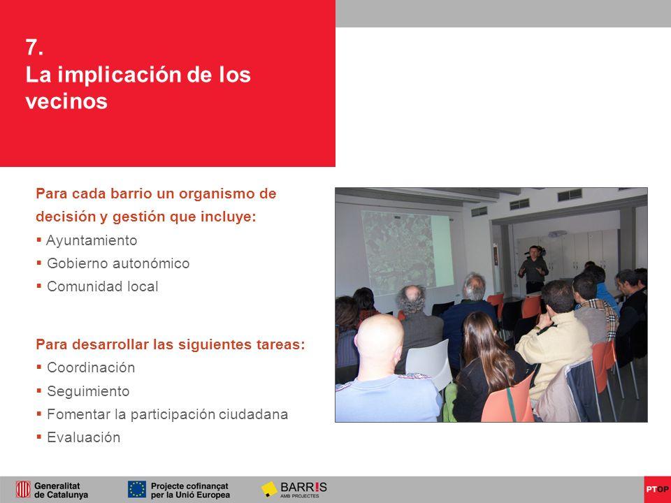 7. La implicación de los vecinos Para cada barrio un organismo de decisión y gestión que incluye: Ayuntamiento Gobierno autonómico Comunidad local Par