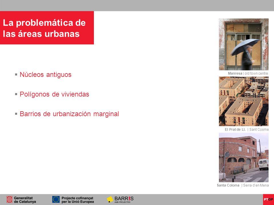 Manresa | old town centre El Prat de Ll. | Sant Cosme Santa Coloma | Serra den Mena Núcleos antiguos Polígonos de viviendas Barrios de urbanización ma
