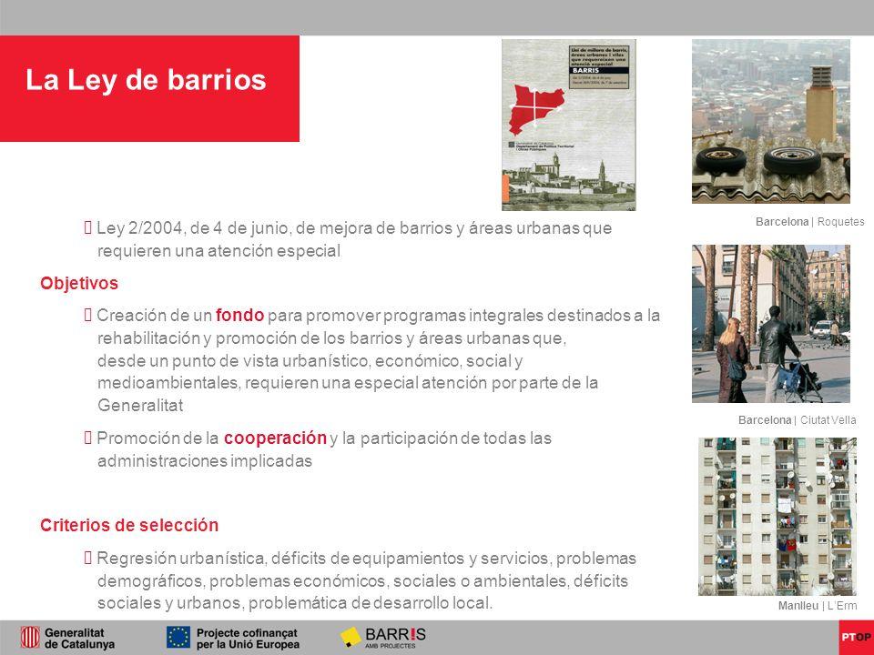La Ley de barrios Ley 2/2004, de 4 de junio, de mejora de barrios y áreas urbanas que requieren una atención especial Objetivos Creación de un fondo p