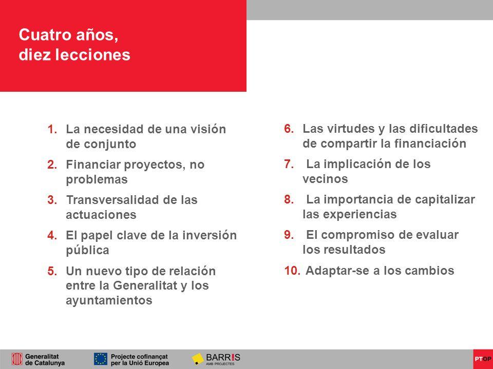 Cuatro años, diez lecciones La necesidad de una visión de conjunto Financiar proyectos, no problemas Transversalidad de las actuaciones El papel clave