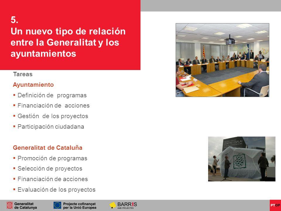 5. Un nuevo tipo de relación entre la Generalitat y los ayuntamientos Tareas Ayuntamiento Definición de programas Financiación de acciones Gestión de