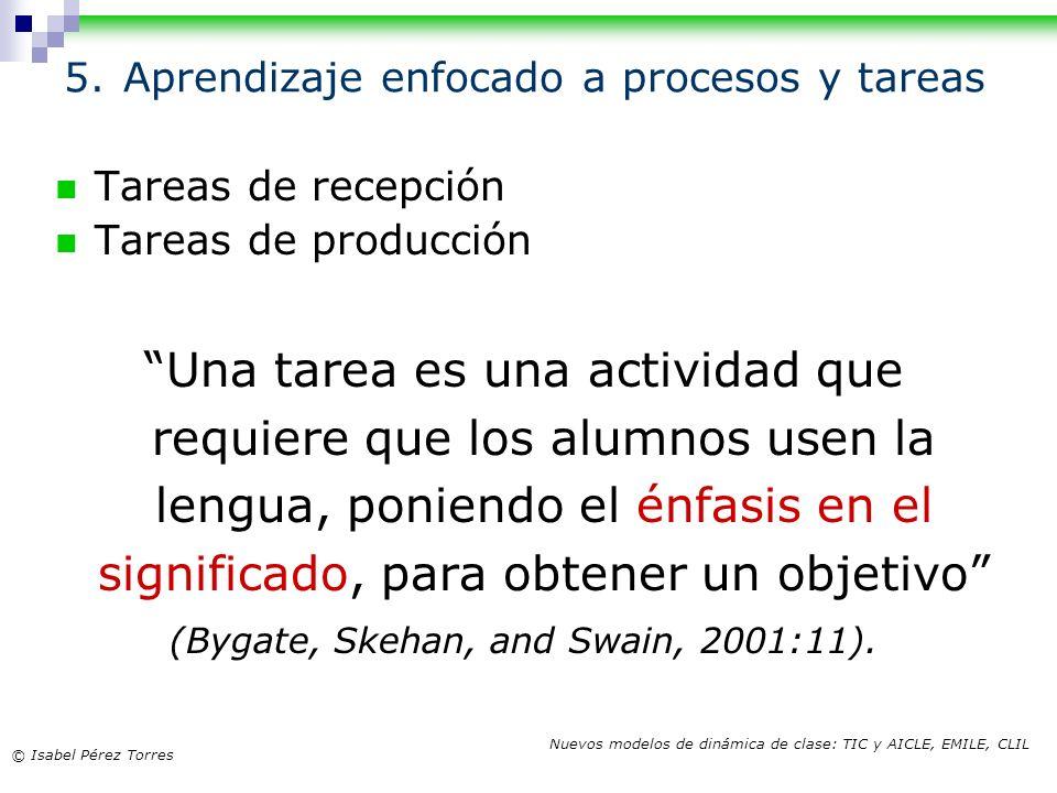 © Isabel Pérez Torres Nuevos modelos de dinámica de clase: TIC y AICLE, EMILE, CLIL 5. Aprendizaje enfocado a procesos y tareas Tareas de recepción Ta