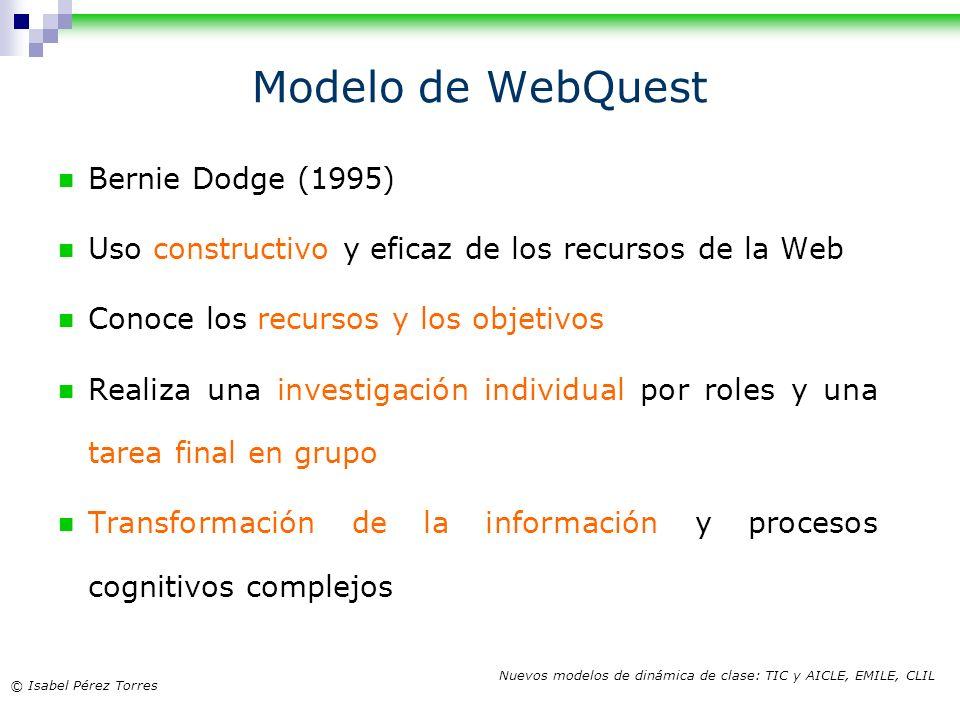 © Isabel Pérez Torres Nuevos modelos de dinámica de clase: TIC y AICLE, EMILE, CLIL Modelo de WebQuest Bernie Dodge (1995) Uso constructivo y eficaz d