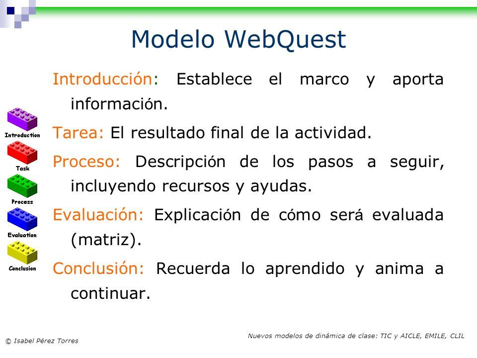 © Isabel Pérez Torres Nuevos modelos de dinámica de clase: TIC y AICLE, EMILE, CLIL Modelo WebQuest Introducción: Establece el marco y aporta informac
