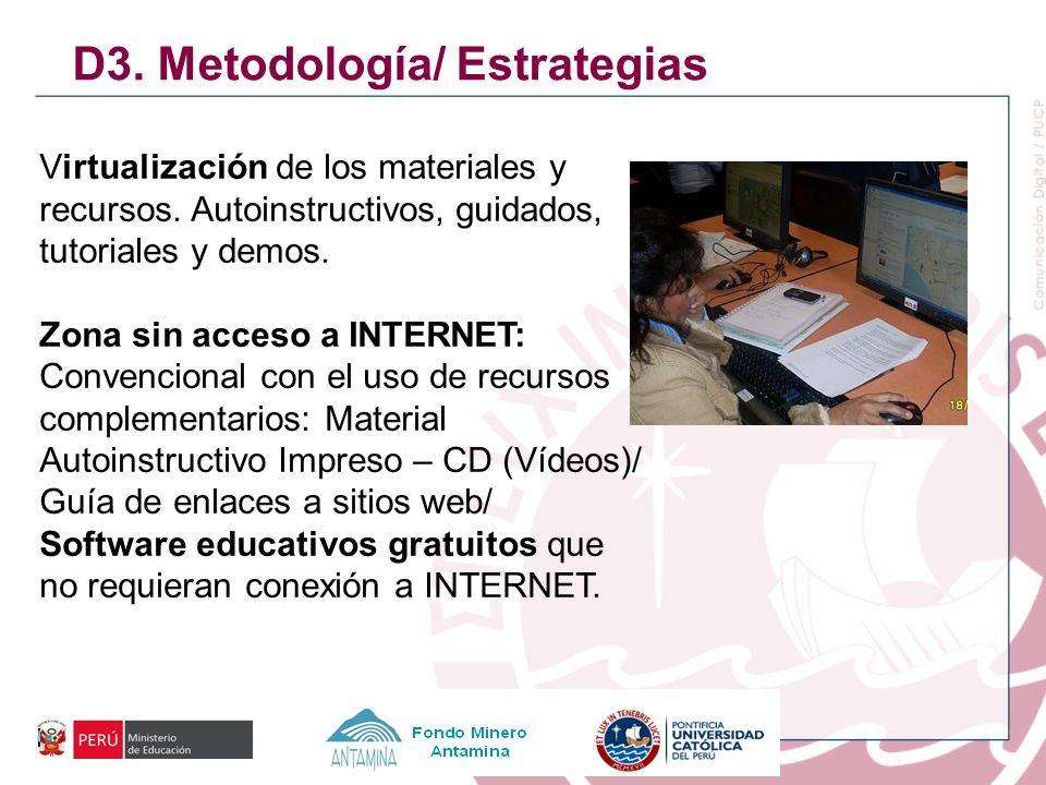 D3. Metodología/ Estrategias Virtualización de los materiales y recursos. Autoinstructivos, guidados, tutoriales y demos. Zona sin acceso a INTERNET: