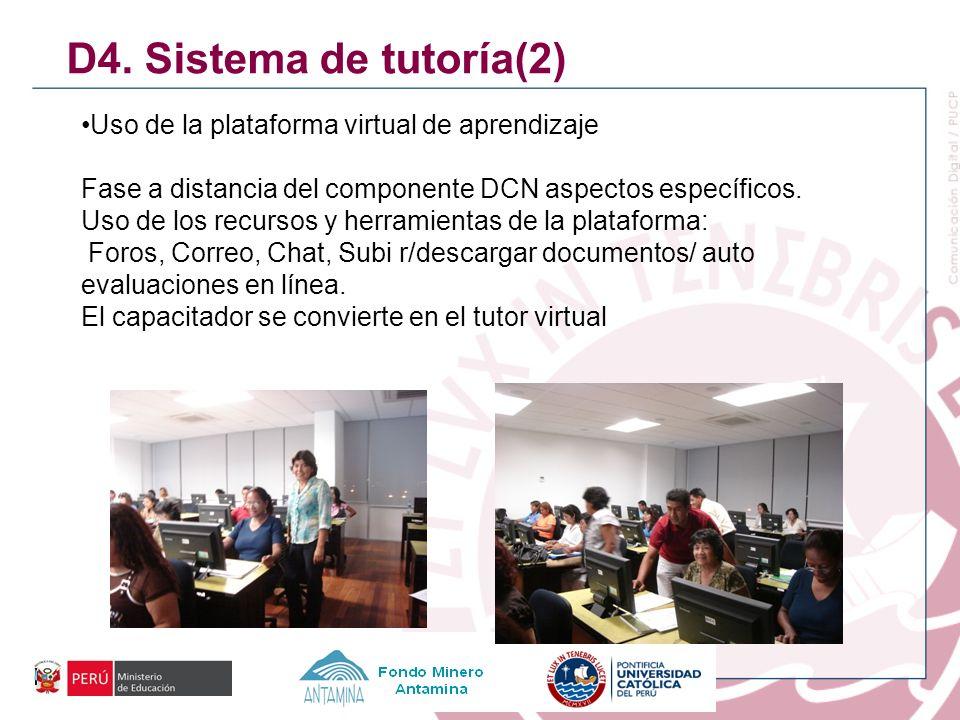 D4. Sistema de tutoría(2) Uso de la plataforma virtual de aprendizaje Fase a distancia del componente DCN aspectos específicos. Uso de los recursos y