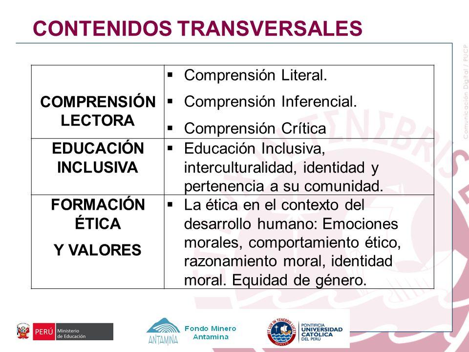 COMPRENSIÓN LECTORA Comprensión Literal. Comprensión Inferencial. Comprensión Crítica EDUCACIÓN INCLUSIVA Educación Inclusiva, interculturalidad, iden