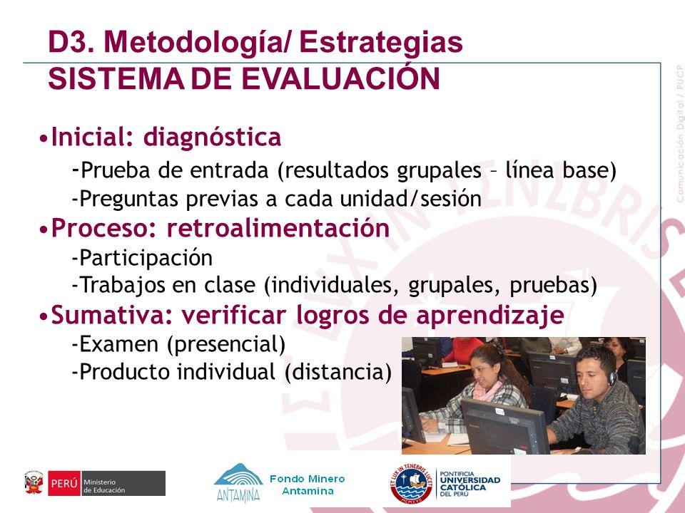 Inicial: diagnóstica - Prueba de entrada (resultados grupales – línea base) -Preguntas previas a cada unidad/sesión Proceso: retroalimentación -Partic