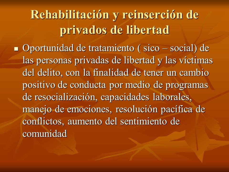 Rehabilitación y reinserción de privados de libertad Oportunidad de tratamiento ( sico – social) de las personas privadas de libertad y las víctimas d
