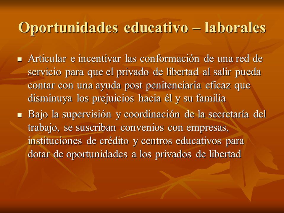 Oportunidades educativo – laborales Articular e incentivar las conformación de una red de servicio para que el privado de libertad al salir pueda cont