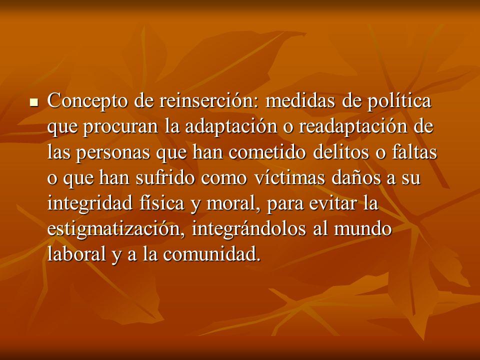 Concepto de reinserción: medidas de política que procuran la adaptación o readaptación de las personas que han cometido delitos o faltas o que han suf