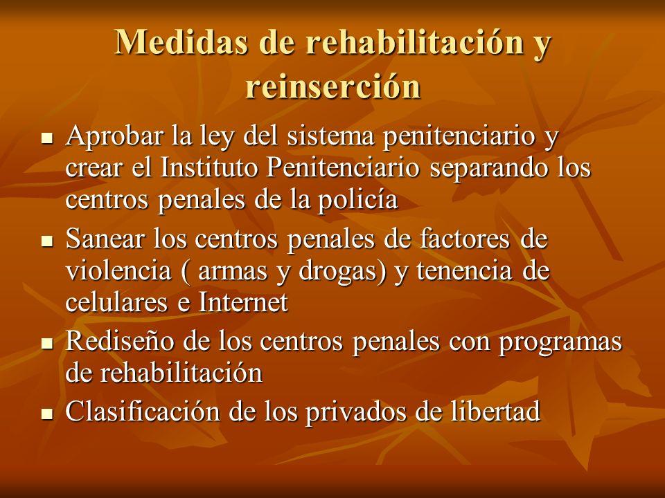 Medidas de rehabilitación y reinserción Aprobar la ley del sistema penitenciario y crear el Instituto Penitenciario separando los centros penales de l