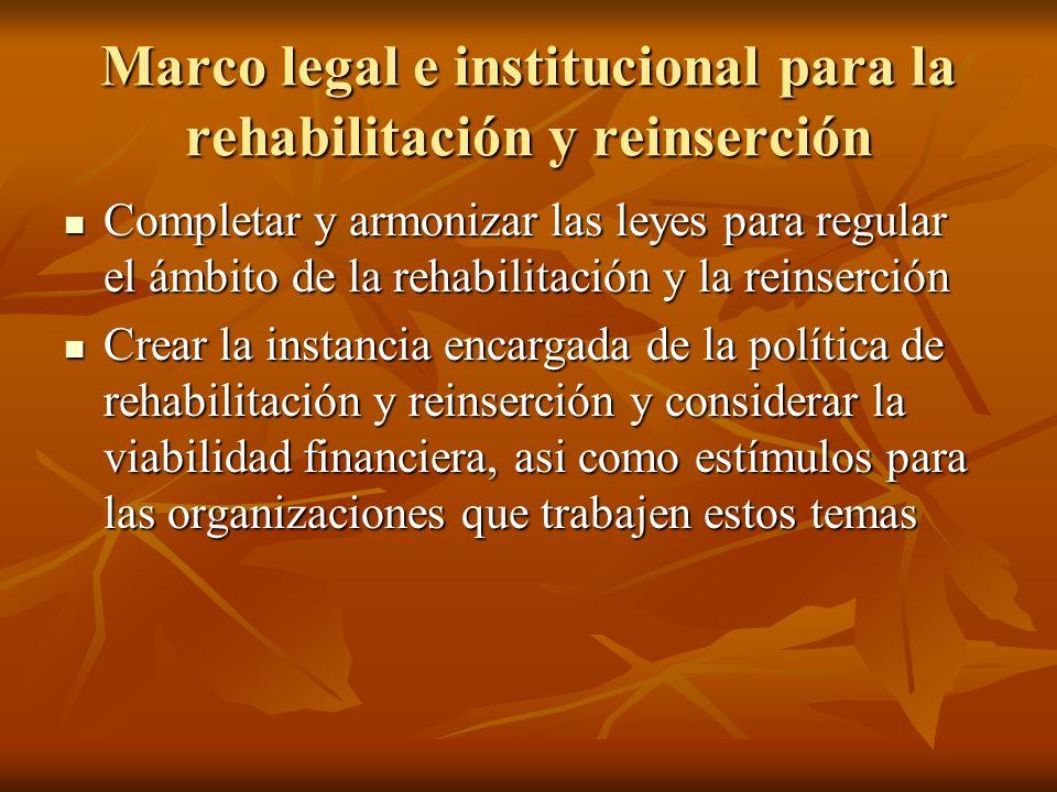 Marco legal e institucional para la rehabilitación y reinserción Completar y armonizar las leyes para regular el ámbito de la rehabilitación y la rein