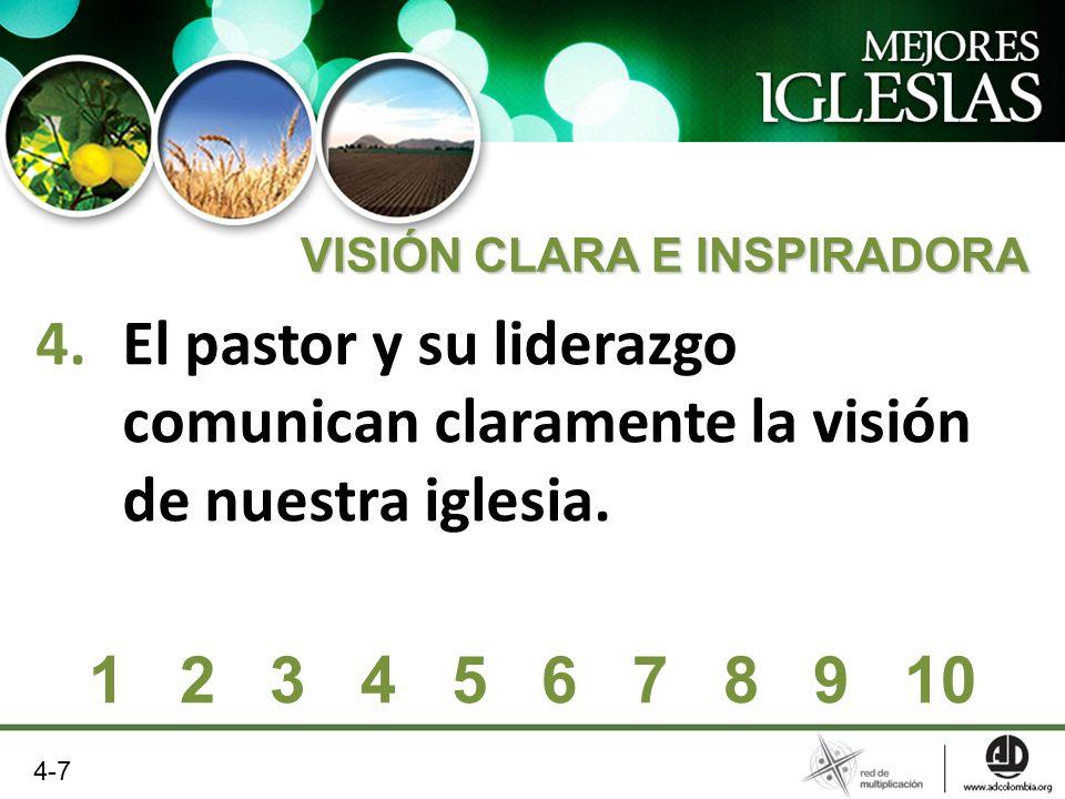 4.El pastor y su liderazgo comunican claramente la visión de nuestra iglesia. VISIÓN CLARA E INSPIRADORA 1 2 3 4 5 6 7 8 9 10 4-7