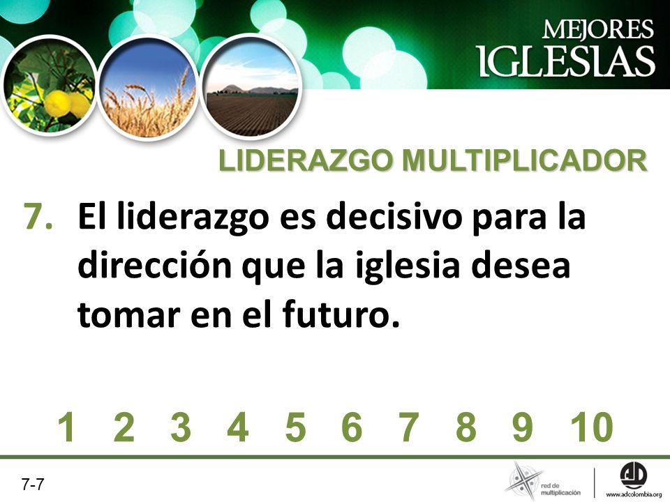 7.El liderazgo es decisivo para la dirección que la iglesia desea tomar en el futuro. 1 2 3 4 5 6 7 8 9 10 7-7 LIDERAZGO MULTIPLICADOR