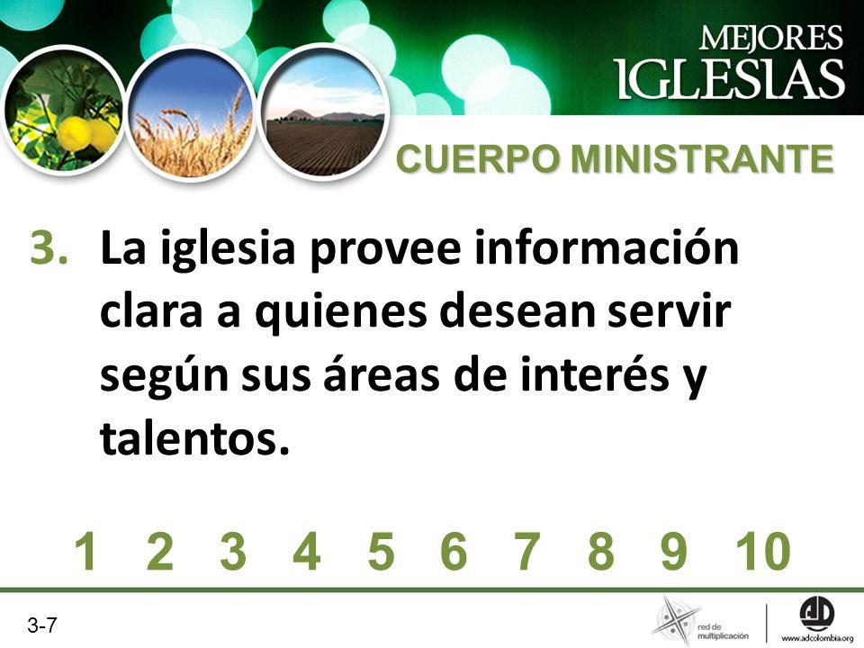 3.La iglesia provee información clara a quienes desean servir según sus áreas de interés y talentos. 1 2 3 4 5 6 7 8 9 10 3-7 CUERPO MINISTRANTE