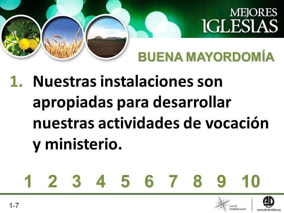 1.Nuestras instalaciones son apropiadas para desarrollar nuestras actividades de vocación y ministerio. 1 2 3 4 5 6 7 8 9 10 1-7 BUENA MAYORDOMÍA