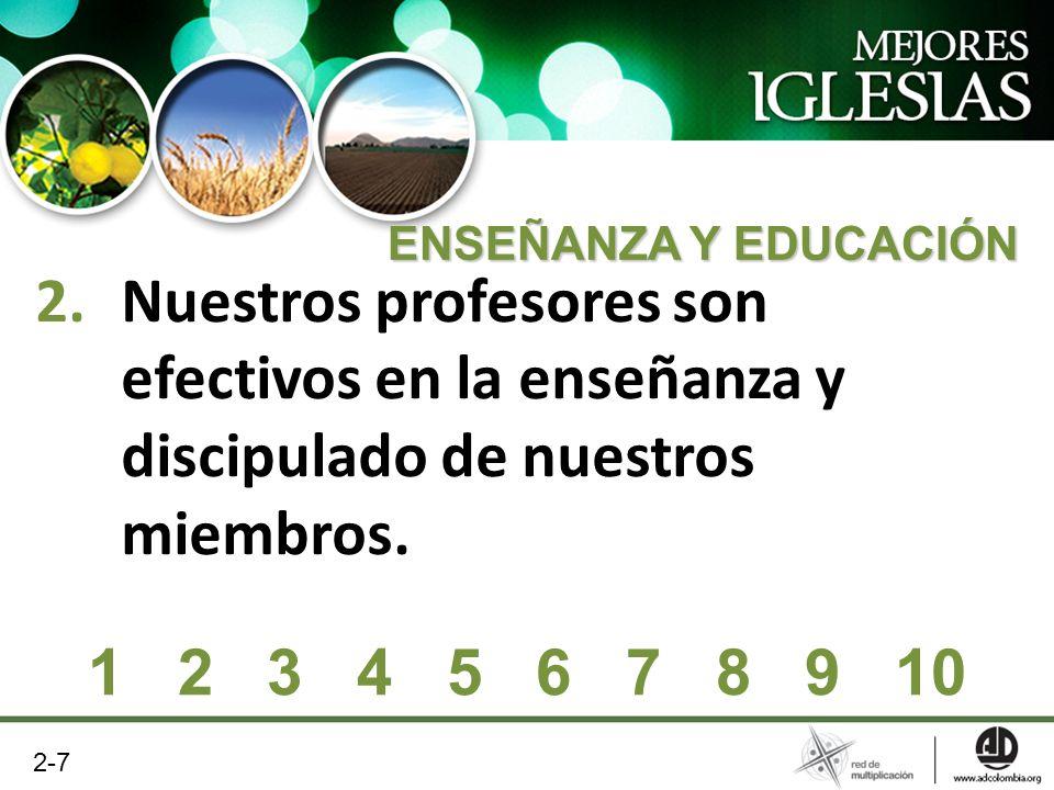 2.Nuestros profesores son efectivos en la enseñanza y discipulado de nuestros miembros. 1 2 3 4 5 6 7 8 9 10 ENSEÑANZA Y EDUCACIÓN 2-7