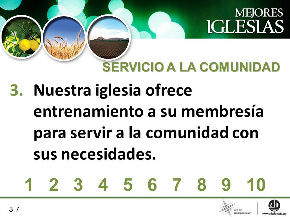 3.Nuestra iglesia ofrece entrenamiento a su membresía para servir a la comunidad con sus necesidades. 1 2 3 4 5 6 7 8 9 10 SERVICIO A LA COMUNIDAD 3-7