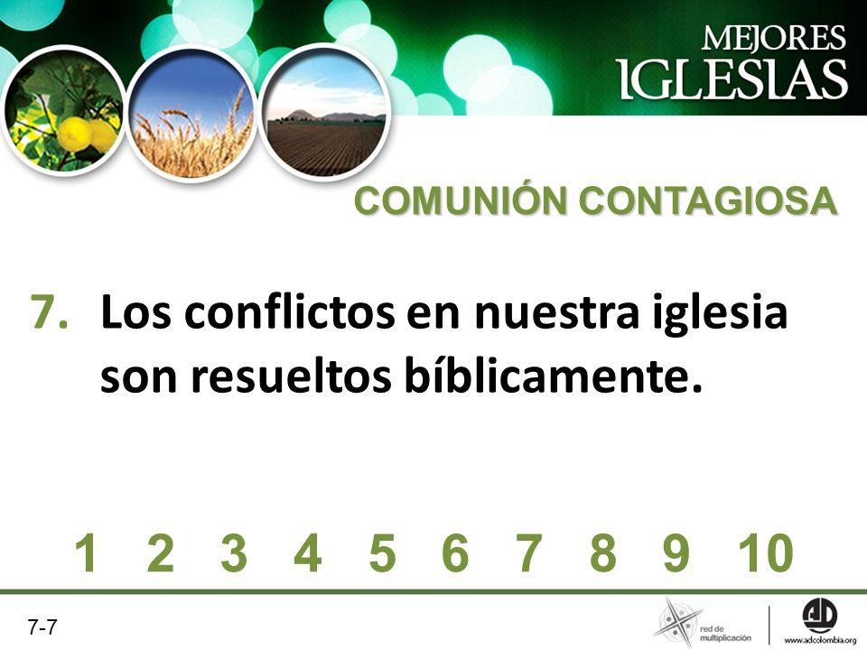 7.Los conflictos en nuestra iglesia son resueltos bíblicamente. COMUNIÓN CONTAGIOSA 1 2 3 4 5 6 7 8 9 10 7-7