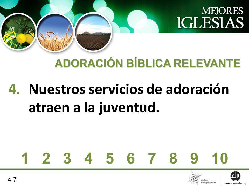 4.Nuestros servicios de adoración atraen a la juventud. ADORACIÓN BÍBLICA RELEVANTE 1 2 3 4 5 6 7 8 9 10 4-7