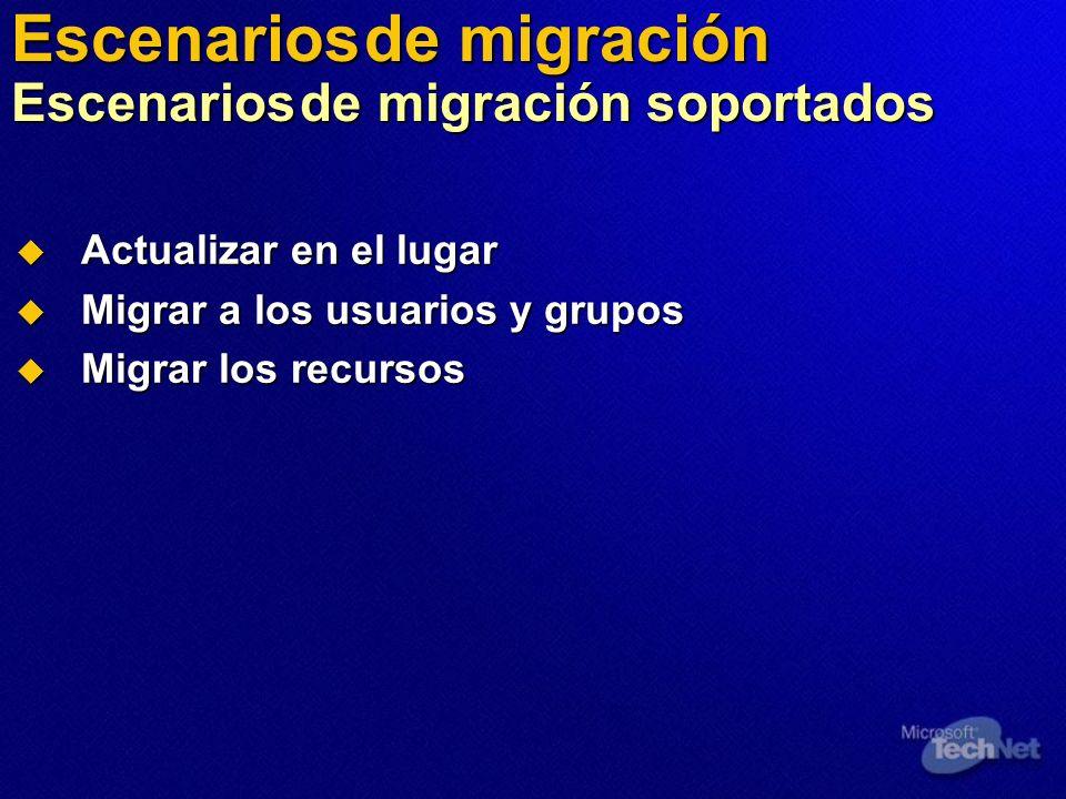 Actualizar en el lugar Actualizar en el lugar Migrar a los usuarios y grupos Migrar a los usuarios y grupos Migrar los recursos Migrar los recursos Es