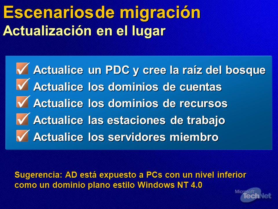 Sugerencia: AD está expuesto a PCs con un nivel inferior como un dominio plano estilo Windows NT 4.0 Escenarios de migración Actualización en el lugar
